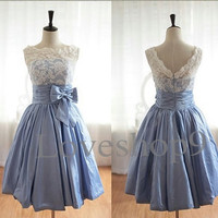 Short White Lace Lavender Bridesmaid Dresses Prom Dresses Party Dresses Formal Occasions 2014 High Qualty