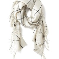 Old Navy Oversized Flannel Scarf Size One Size - White Plaid