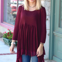 3/4 Sleeve Lace Trim Handkerchief Tunic {Burgundy}