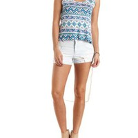Ivory Combo Print & Chiffon High-Low Tank Top by Charlotte Russe