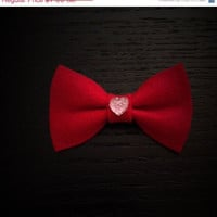 Bright Red Colored Felt Hair Bow Ribbon with Jeweled Heart Perfect for Valentine's Day