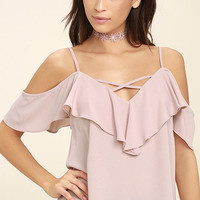 Sing It Now Blush Pink Off-the-Shoulder Top