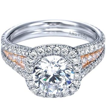 "Gabriel Amavida ""Brooklyn"" Cushion Halo Two-Tone Diamond Engagement Ring"
