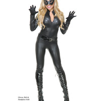 Black Catsuit With Mask Adult Womens Costume – Spirit Halloween