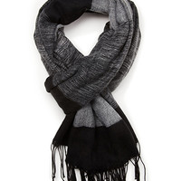 FOREVER 21 Fringed Colorblock Scarf Black/Grey One