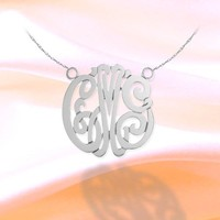 Monogram Necklace 1 inch Handcrafted 925 Sterling Silver Personalized Initial Necklace - Made in USA