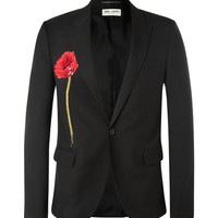 Saint Laurent - Sequinned Poppy Embeliished Wool Blazer | MR PORTER
