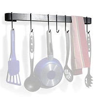 Wall Mounted Kitchen Pot Rack with 8 Hooks & Drywall Anchors