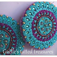 Lace tatted embroidered jewels, Mandala earrings, hand tatted and embroidered dangle earrings, original designed