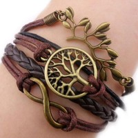 Infinity Bronze Branch Wish Tree Coffee Rope Leather Bracelet Cool Handmade Knit