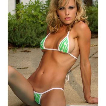 White w/ Neon Green Animal Print Micro G String Bikini 2pc Triangle Top Mini Thong