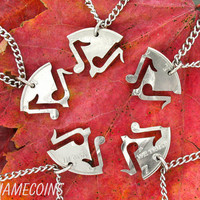 5 Piece Interlocking Music Note Set Half Dollar, for band or family, hand cut coin