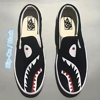 VANS x Bape joint model low to help men's shoes tide shoes a pedal lazy canvas shoes F/A Slip-On / Black