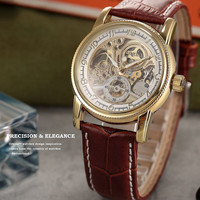 Orkina Luxury Skeleton Automatic Mechanical Mens Gold Case Leather Watch