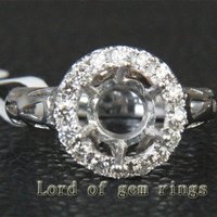 9mm Round Cut Solid 14K White Gold .35ct Diamond Halo Engagement Semi Mount Ring