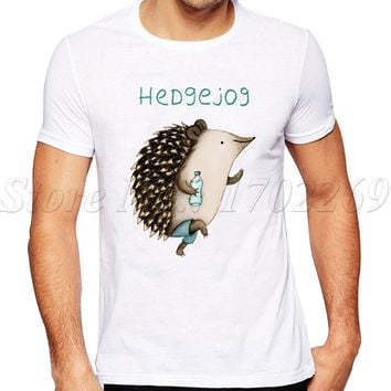 2017 New Fashion Hedgejog Printed Men T-Shirt Short Sleeve Hipster Tops Summer Cool hedgehog Design Tees