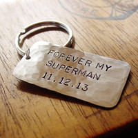 Superman Keychain, Custom Hand Stamped Silver Nickel, Father Dad Husband Military, Mens Key Chain, Forever My Superman, Superhero