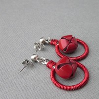 Charming Red Jingle Bell Wirewrapped Earrings Surgical Steel Ball post
