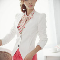 Korea Womens Casual Suits Cardigan Blazer Jackets Outerwear Coats Lining White