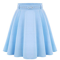 Blue Silky Skater Skirt