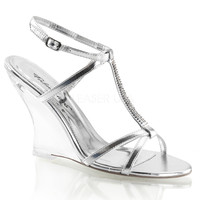 Silver Open-Toe Sandals w/ 4 Inch  Wedge