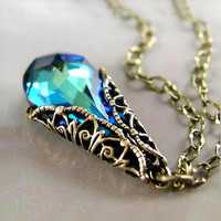 Aqua Teal Necklace Green Blue Swarovski Crystal by DorotaJewelry