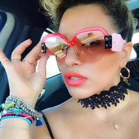 LARGE OVERSIZED LADIES WOMEN SUNGLASSES DESIGNER HALF FRAME RETRO FASHION 2019