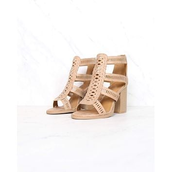 Distressed Leatherette Perforated Strappy Peep Toe Heeled Sandals in Tan