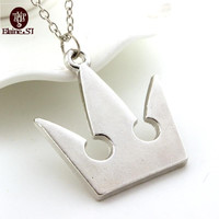 Kingdom Hearts Silver Plated Royal Crown Pendant Necklace