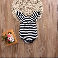 born Baby Girl Striped Romper Lotus collar Jumpsuit Clothes Outfits