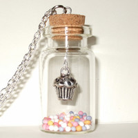 Cupcake Necklace Bottle Pendant Cute Quirky Kawaii Fairy Cake Muffin Sugar Sprinkles