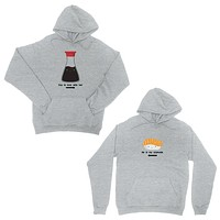 Sushi & Soy Sauce Grey Matching Hoodies Funny Anniversary Gift Idea