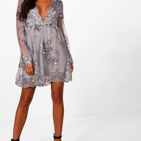 Ellie Sequin and Mesh Long Sleeve Skater Dress | Boohoo