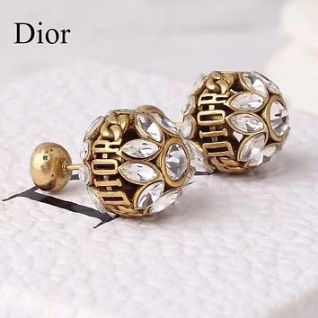 Dior Fashion Women Luxury Crystal Earrings Accessories Jewelry