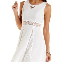 Lace-Gauze Cut-Out Skater Dress by Charlotte Russe