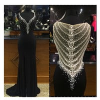 Black Sparkly Prom Dresses V Neck Sexy Back Hollow Beaded Pearls Long Evening Gowns Custom Luxury Formal Party Dress