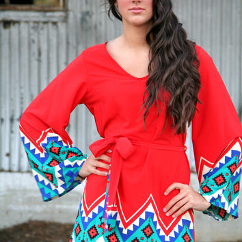 Heart to Heart Red Tribal Tunic Dress