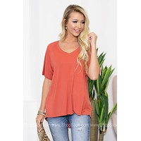 Felicity Basic V-Neck Hi-Low Top | Orange