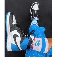 NIKE AIR JORDAN 1 High Retro Black Toe Basketball shoes blue tail