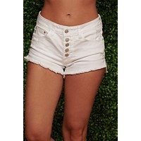 Star Player Distressed Shorts (White)