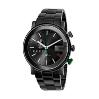 Gucci G-Chrono Black PVD Stainless Steel Guilloché Dial Mens Swiss Watch