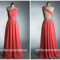 Pink One Shoulder long Backless Chiffon Prom Dress / evening dress / party dress / long bridesmaid dress / cocktail party dress