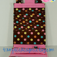 Women's Wallet Organizer with Card Slots - 2 in 1 - Brown, Pink and Blue with Polka Dots