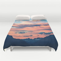 Duvet Cover, Mountains, Clouds Sky Sunset Mountain, Nature Bedding Cover, Decorative Bedroom Decor, Modern Home Decor, King, Queen, Full
