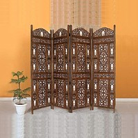 Handcrafted Wooden 4 Panel Room Divider Screen With Tiny Bells - Reversible,Brown By Benzara