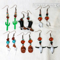 Your Choice of Handmade Western Themed Earrings Dangle with Beaded Accents Boots Cowboy Cactus Hat Horseshoe Gun Cow Skull Longhorn