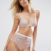 ASOS Valentina Corded Lace Triangle Set in Ellie Pink at asos.com