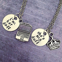 I'm Her DUFF She's My DUFF Best Friends Necklaces - Designated Ugly Fat Friend Necklaces - Movie Jewelry - Sister Jewelry