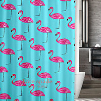 "New Kate Spade Mint Pink Flamingo Custom Shower Curtain 60"" x 72"""
