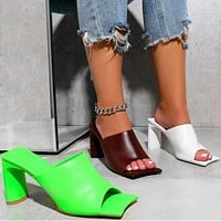 New female high-heeled fish mouth sandals thick-heeled fairy style with skirt mid-heel sandals Shoes